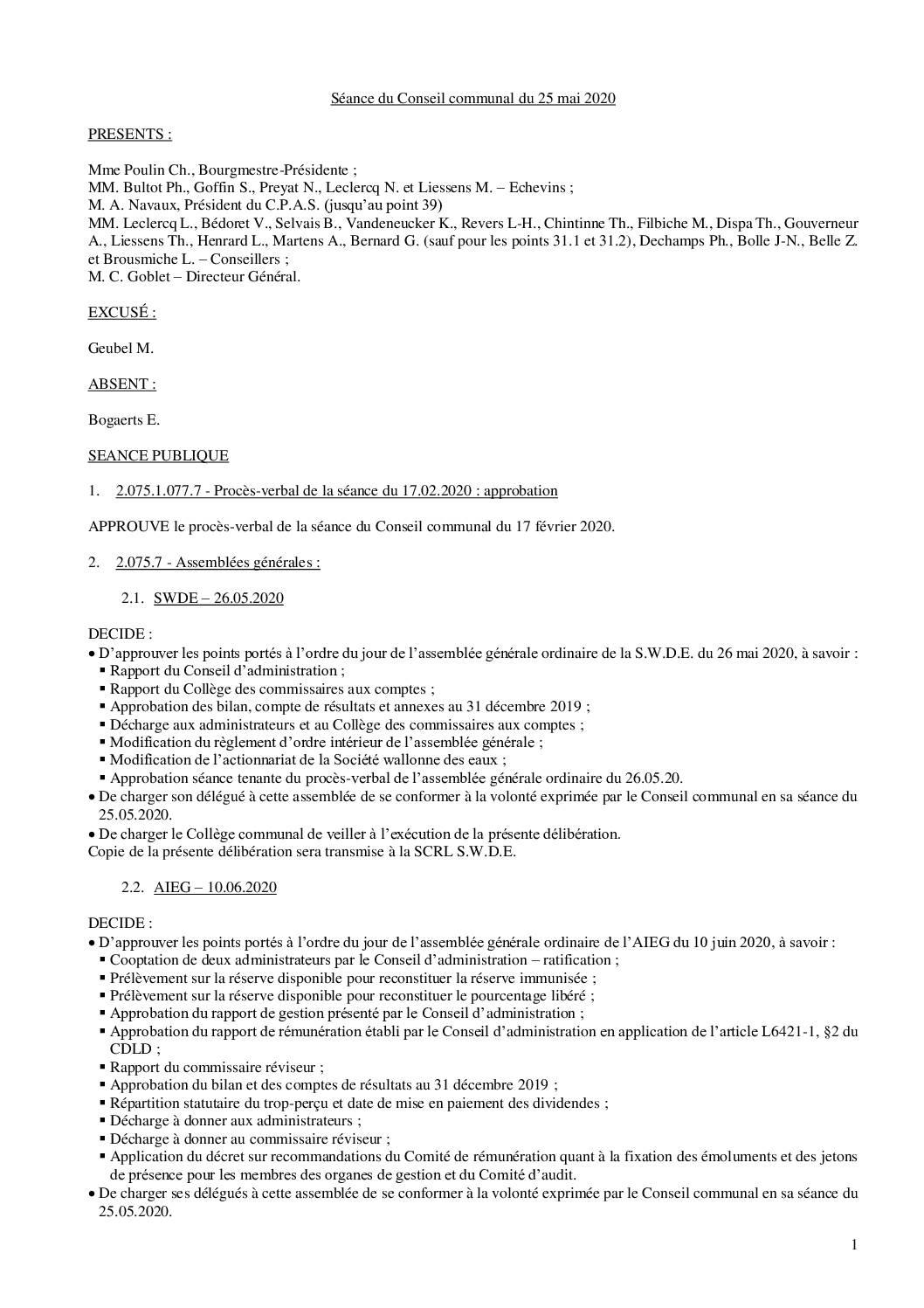 Conseil communal – 25 mai 2020
