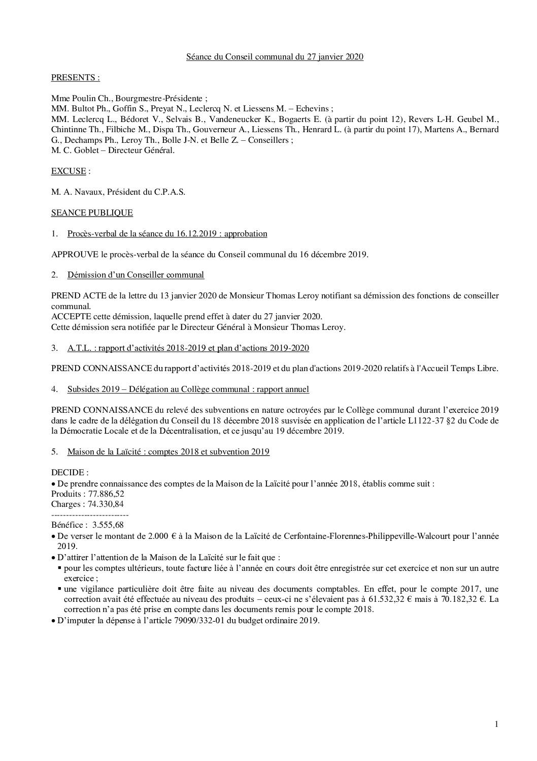 Conseil communal – 27 janvier 2020
