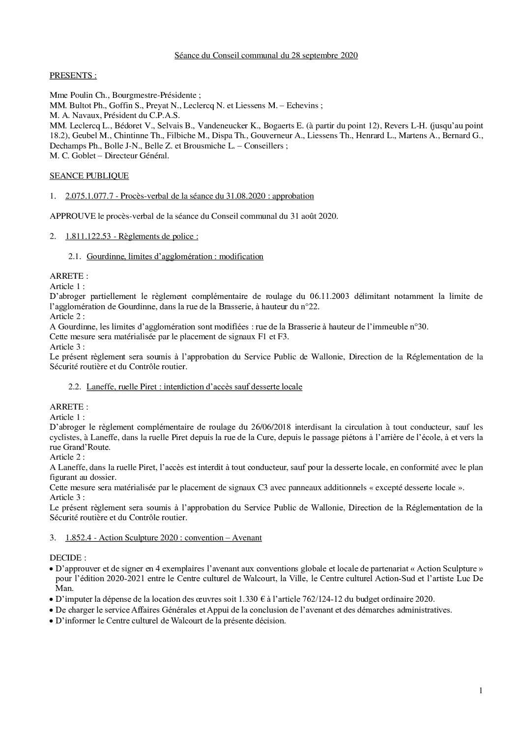 Conseil communal – 28 septembre 2020
