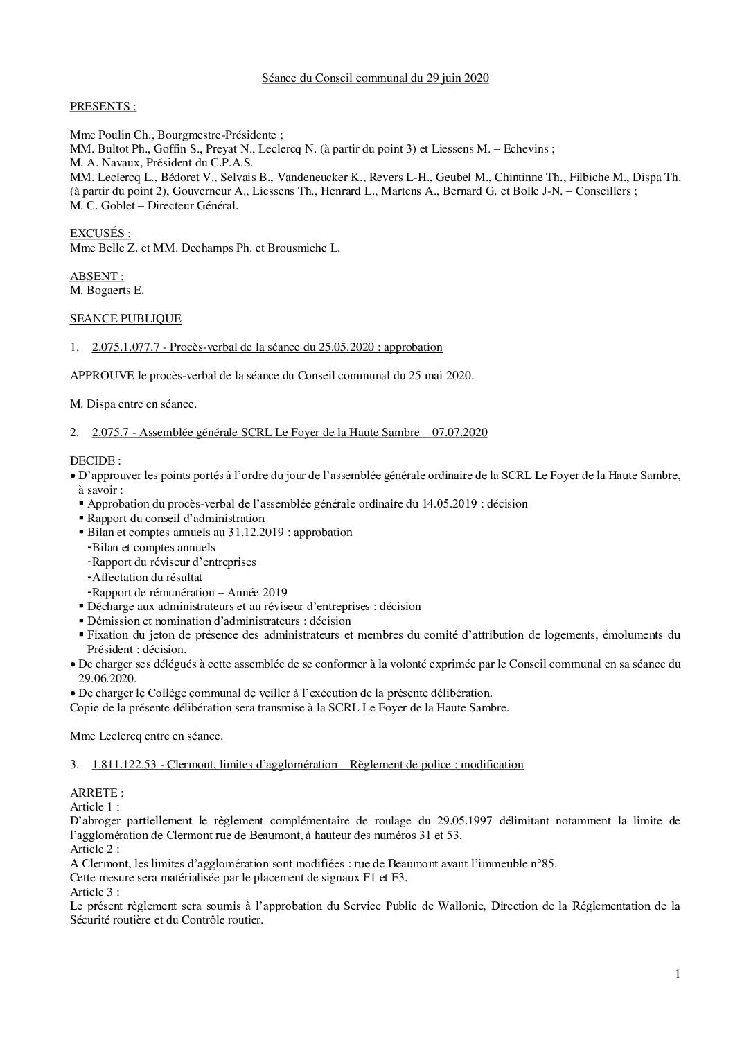 Conseil communal – 29 juin 2020