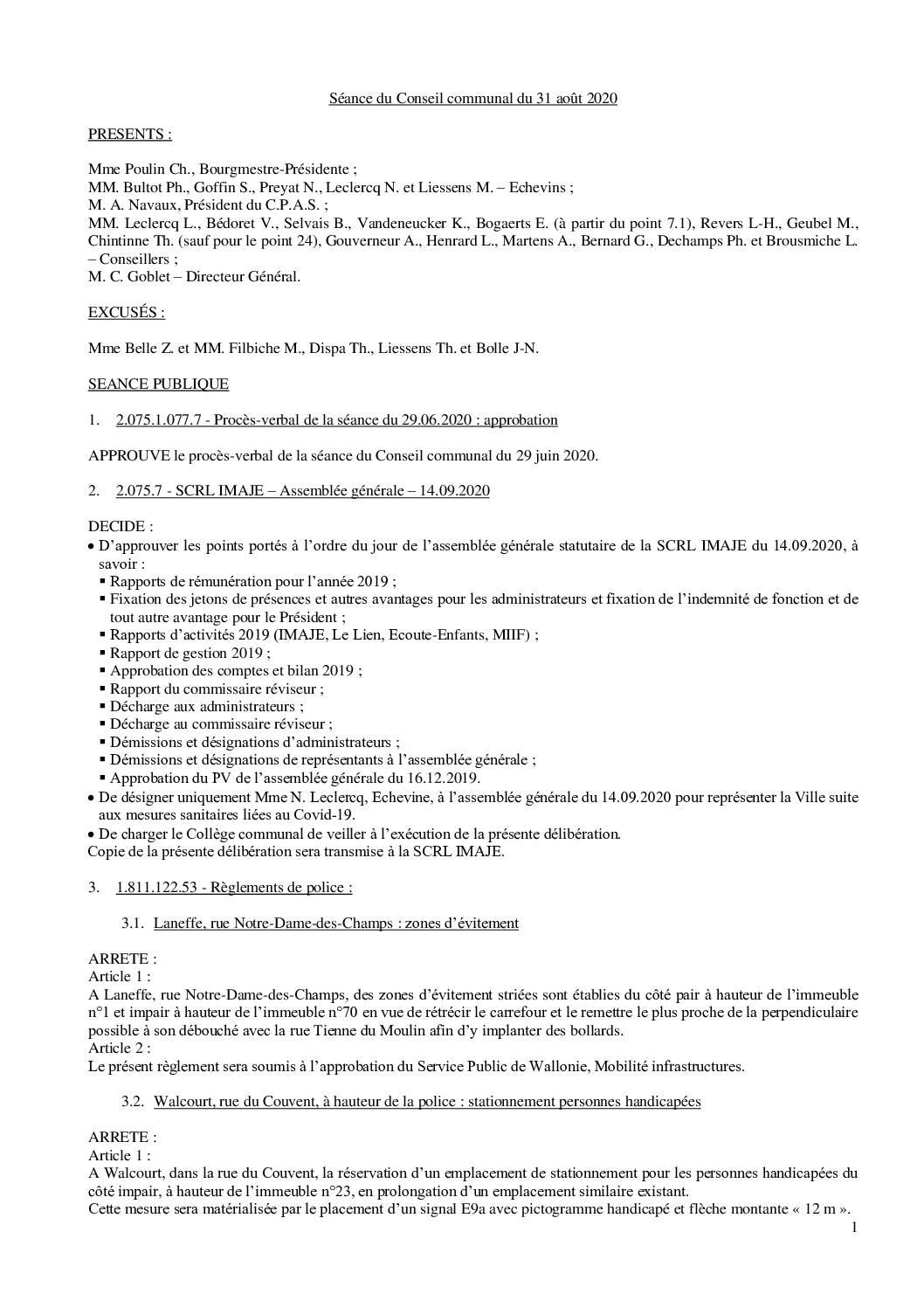 Conseil communal – 31 août 2020