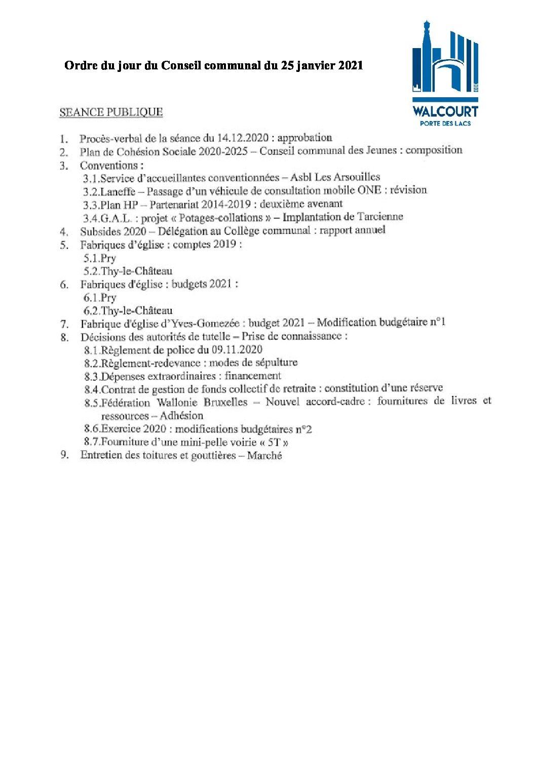 Ordre du jour – Conseil communal du 25 janvier 2021