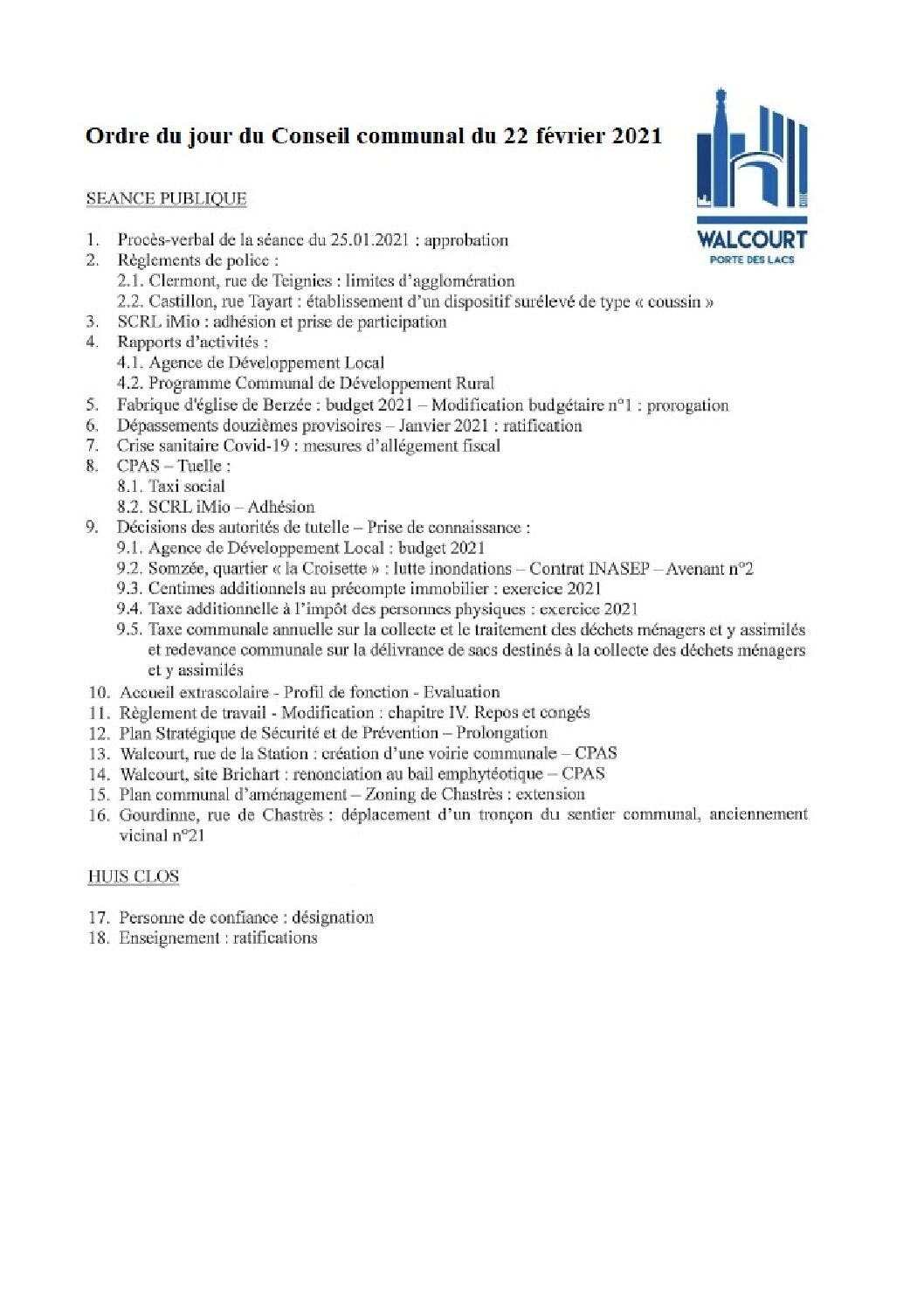 Ordre du jour – Conseil communal du 22 février 2021
