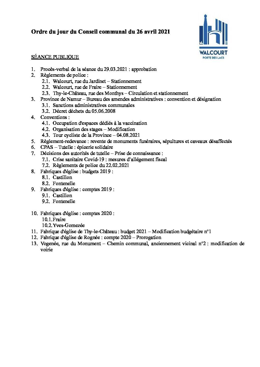 Ordre du jour – Conseil communal du 26 avril 2021