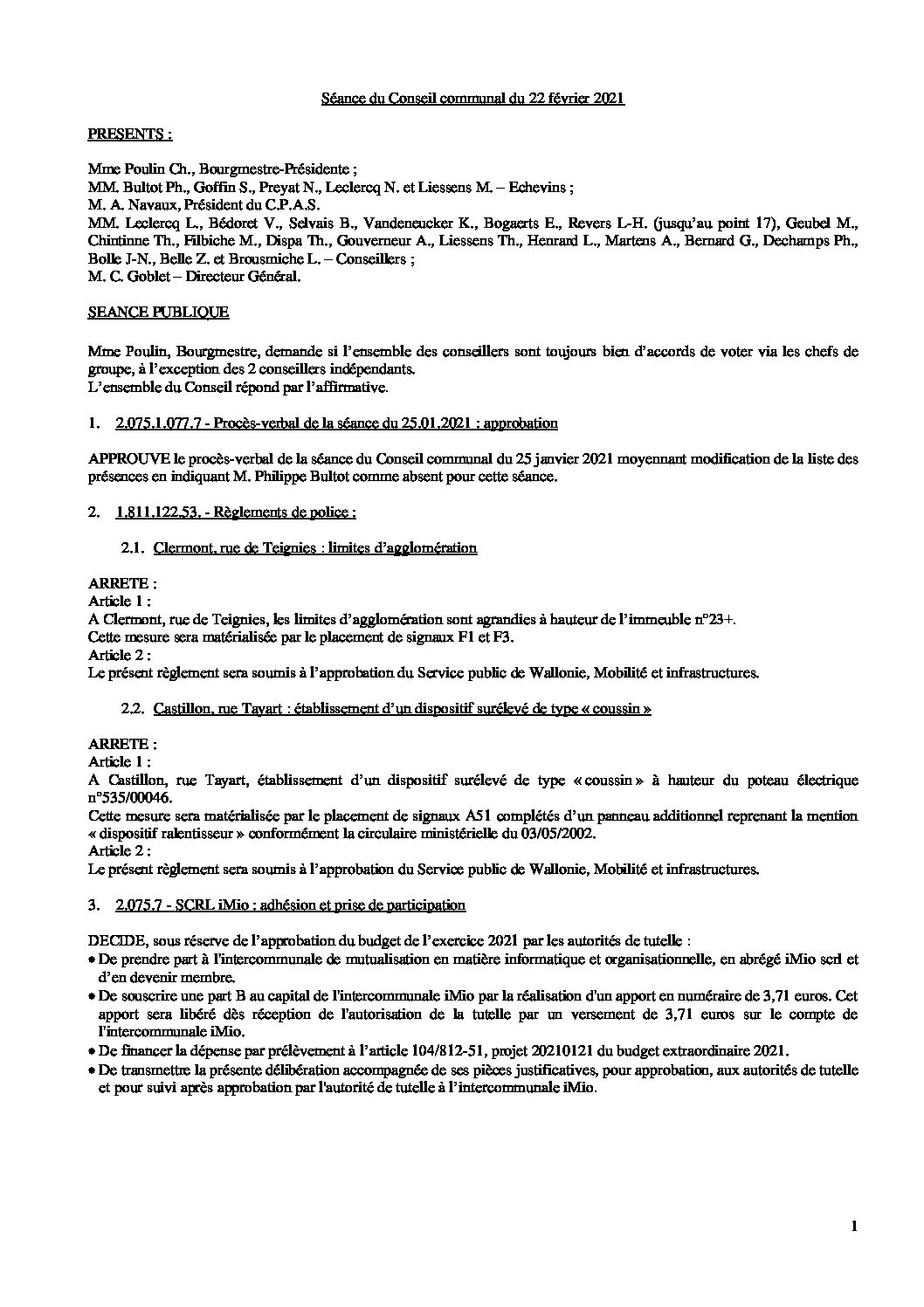 Conseil communal – 22 février 2021