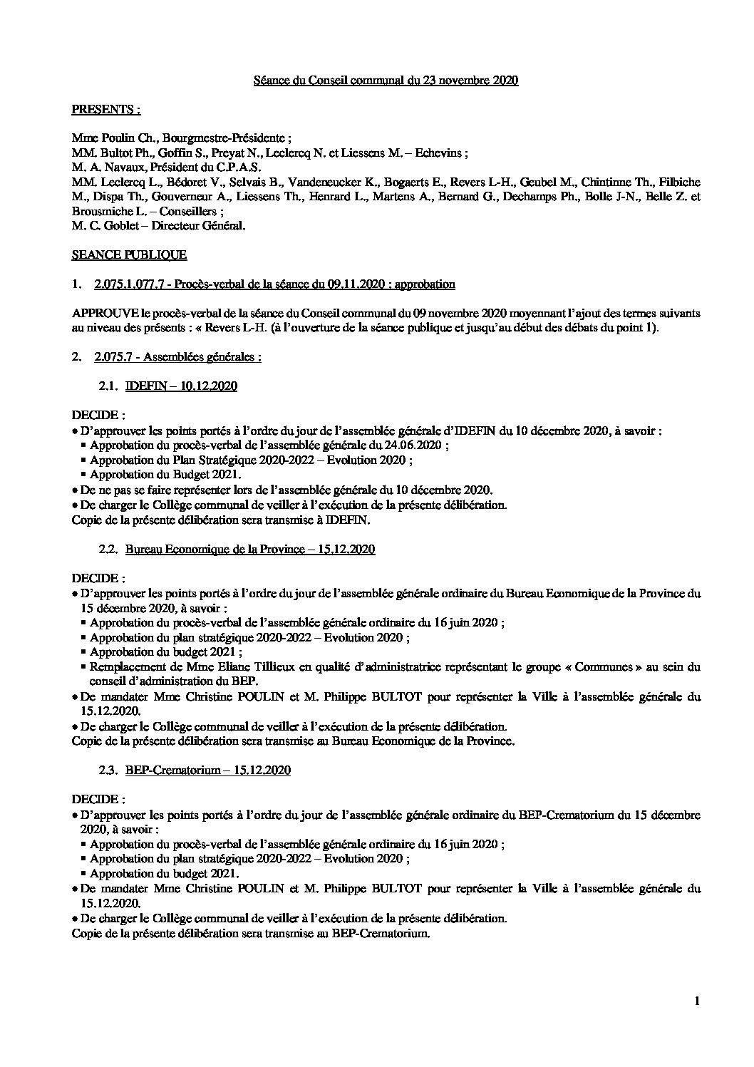 Conseil communal – 23 novembre 2020