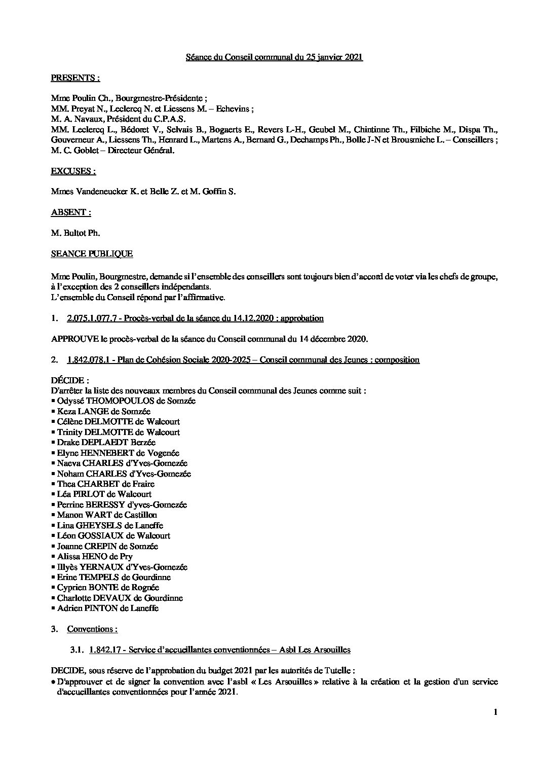Conseil communal – 25 janvier 2021