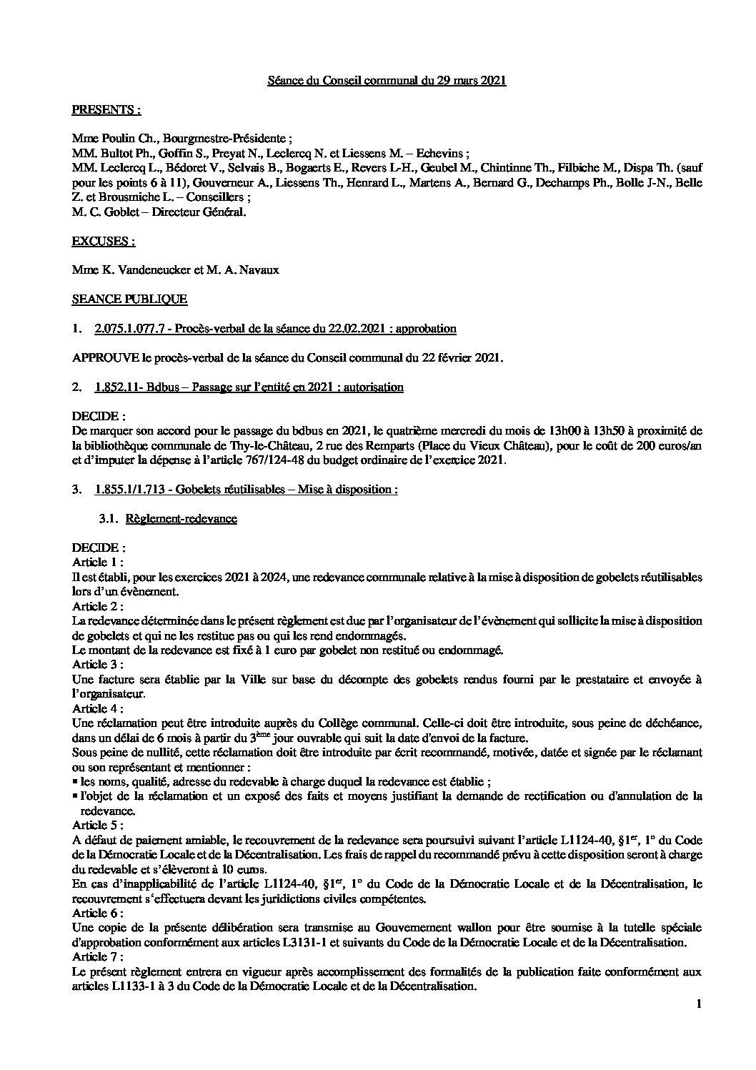 Conseil communal – 29 mars 2021
