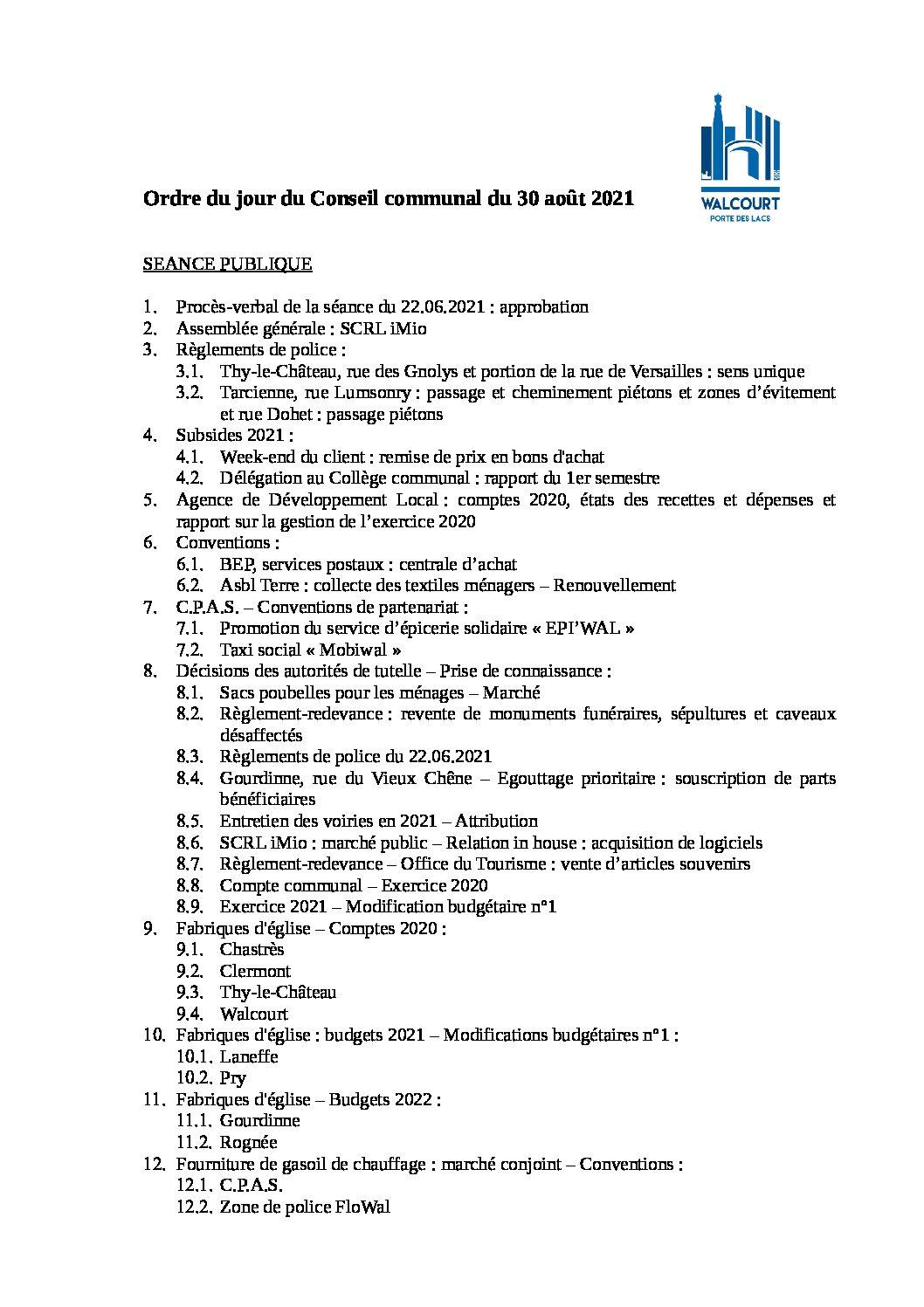 Ordre du jour – Conseil communal du 30 août 2021
