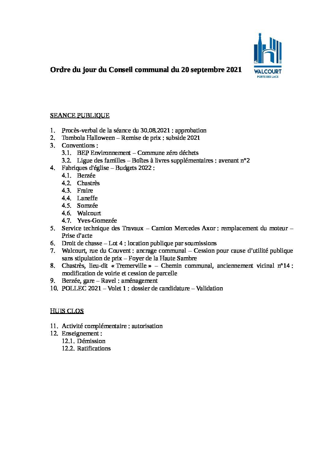 Ordre du jour – Conseil communal du 20 septembre 2021