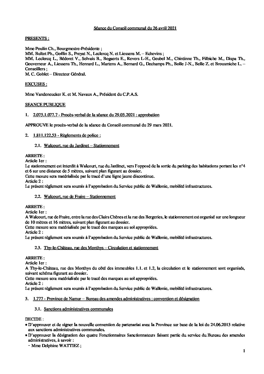 Conseil communal – 26 avril 2021
