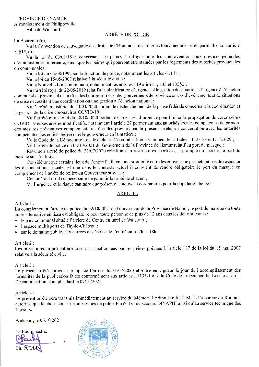 Arrêté de police du Bourgmestre de la Ville de Walcourt relatif au port du masque applicable à partir u 6 octobre 2021